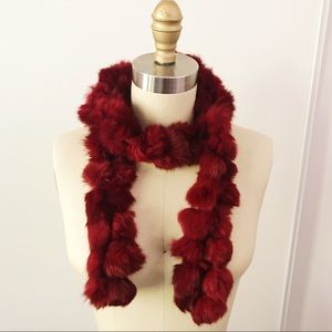New York & Company Rabbit Fur Neck Scarf Red